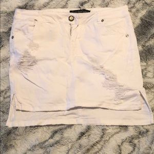 White Ripped Jean Skirt